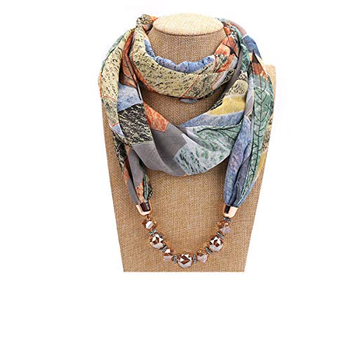 Scarf Jewelry Accessory - GOGNGTR Vintage Ethnic Women's Scarf Crystal Bead Pendant Accessory Necklace Soft Infinity Scarves(sc005) (Grey)