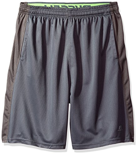 Russell Athletic Men's Big and Tall Color Blocked Jersey Shorts with Pockets, Charcoal, 4X (Athletic Jersey Shorts Russell)
