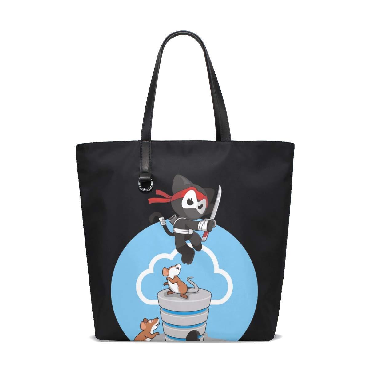 Amazon.com: Ninja Cat Mouse Tote Bag Purse Handbag For Women ...
