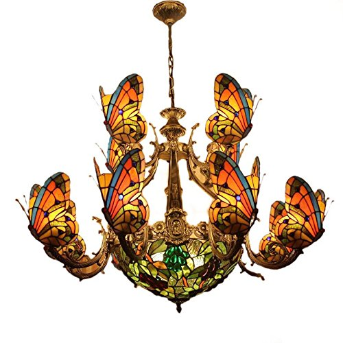 Tiffany Chandelier Butterfly Pendant Lamps Fumat Dinning Room Pendant Lamps 13 Lights 12 Shades 39-Inch Color Glass