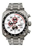 Zippo Chronograph Sports Watch with White Dial and Stainless Steel Band
