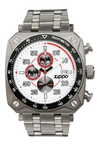 Zippo Chronograph Sports Watch with White Dial and Stainless Steel ()