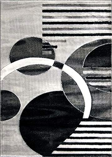 ADGO Atlantic Collection Modern Contemporary Abstract Geometric Circles Squares Swirls Living Dining Room Area Rug (8