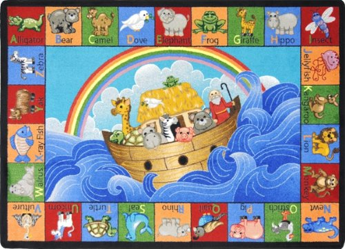 Joy Carpets - Noah's Alphabet Animals - 7'8'' x 10'9'' by Joy Rugs