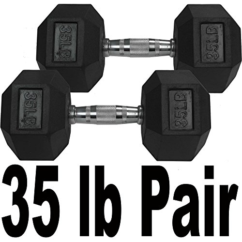 Pair 35 lb Black Rubber Coated Hex Dumbbells Weight Training Set 70 lb Fitness by Titan Fitness (Image #1)'