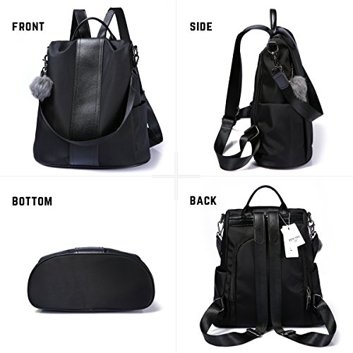 Women Backpack Purse Waterproof Nylon Anti-theft Rucksack Lightweight Shoulder Bag (Black)