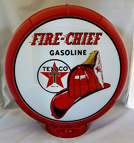 The Finest Website Inc. New Reproduction Texaco Fire Chief Gas Pump Globe Already Assembled - Red Outer Frame - Ships Free Next Business Day to Lower 48 States