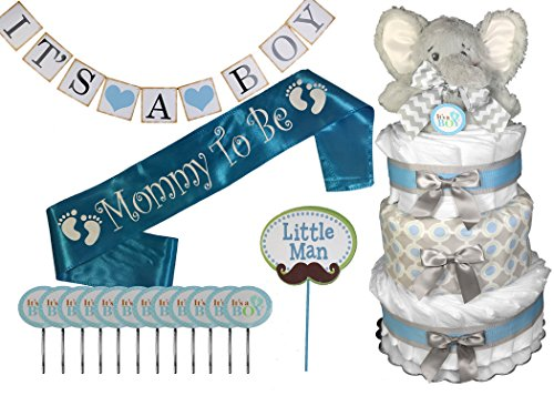 Baby Shower Gift Set - Diaper Cake for a Boy - Complete Elephant Themed Package
