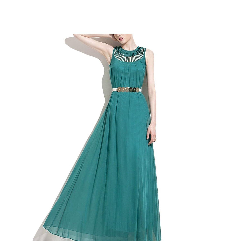 D9Q Damen Lady Hollow ärmellos Krepp Sommerfest Cocktail lange Maxi Dress