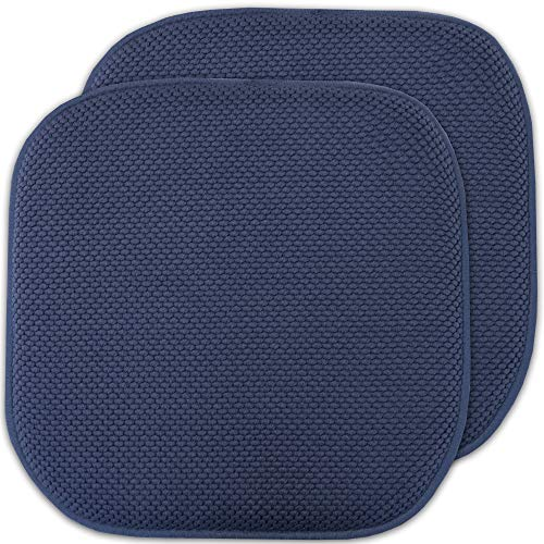 Sweet Home Collection Memory Foam Chair Cushion Honeycomb Pattern Solid Color Slip Non Skid Rubber Back Ultimate Comfort and Softness Rounded Square 16