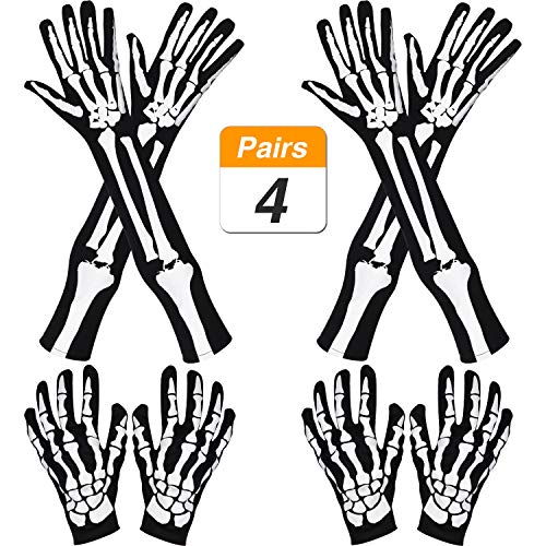 Jovitec 2 Pairs Halloween Long Arm Skeleton Gloves and 2 Pairs Skeleton Short Gloves for Halloween Costume Cosplay Party -