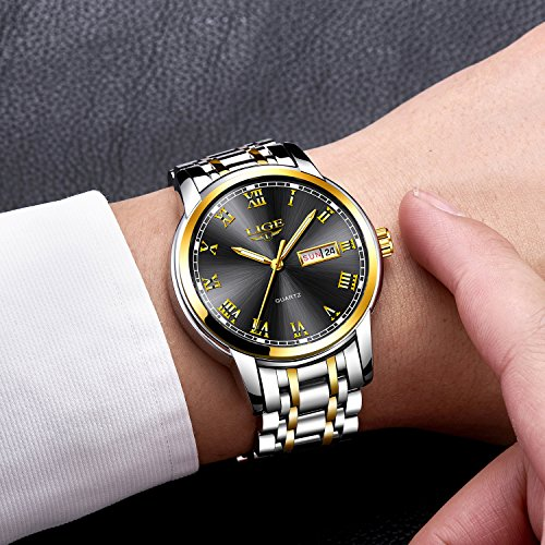 Mens-Watches-Fashion-Sports-Quartz-Watch-Stainless-Steel-Silver-with-Gold-Strap-Top-Brand-Luxury-Simple-Style-Business-Watch-Waterproof-30M-With-Black-Dial