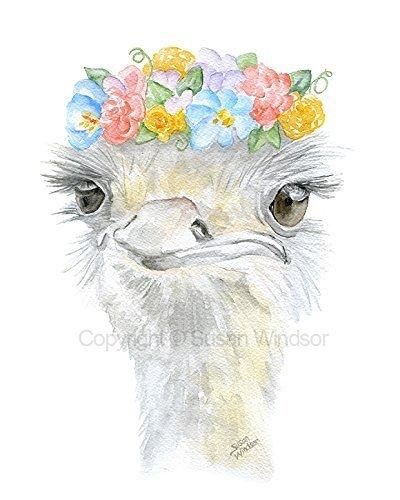 Ostrich Floral Watercolor Print ()