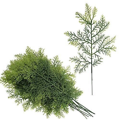 besttoyhome 12 Pcs Artificial Cedar Picks Faux Cedar Greenery Spray Branches Christmas Cedar Twig Stems Cedar Sprigs 13 x 6.3 (LXW) for Holiday Season Winter Décor