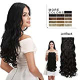 #6: REECHO Hair Extensions Clip in Straight Curly Wavy 4 PCS Set Thick Hairpiece