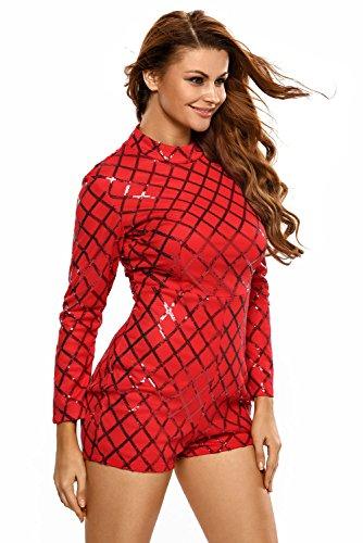 Neuf pour femme Rouge Sequins Barboteuse JumpSuit Combinaison Catsuit Club Wear Taille L UK 12EU 40