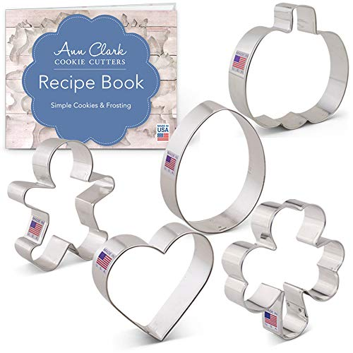 Cookie Cutters for Every Season Set with Recipe Book - 5 piece - Ann Clark - Tin Plated Steel All Season Cookie Cutter