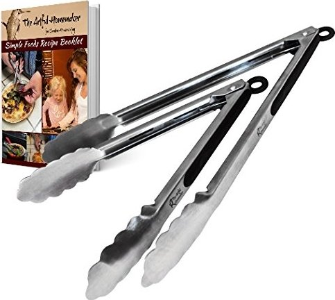 Premium Stainless Steel Locking Kitchen Tongs for Cooking an