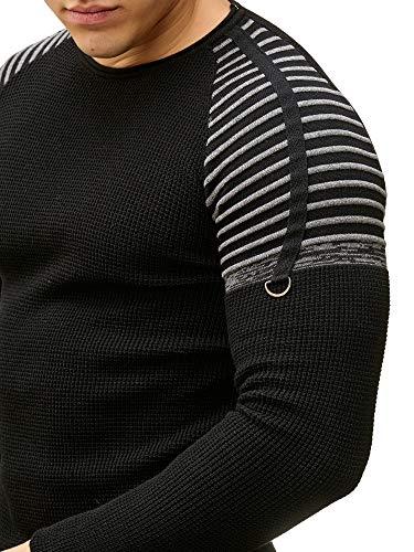 Hommes Redbridge Col Tricotés Pullover Longue Sweater Noir Rond Épaule Rayé Basic Manche gqqOadH