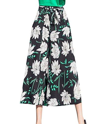 Pantaloni Modello Donne 3 Colour Libero Culotte Tempo Elegante Leggero Relaxedchic Fiore Larghi Ericcay Estivi Mare Palazzo 7ZEw7d