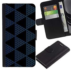 Paccase / Billetera de Cuero Caso del tirón Titular de la tarjeta Carcasa Funda para - Polygon Pattern Black Navy Blue - Sony Xperia Z1 Compact D5503