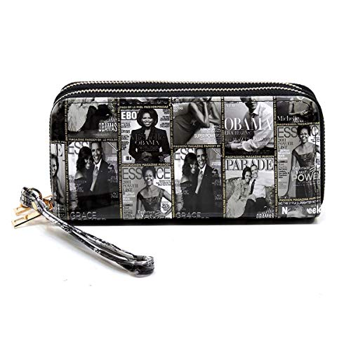 Glossy magazine cover collage Michelle Obama printed large capacity zipper wallets with wrist band (Picture #02-BK)