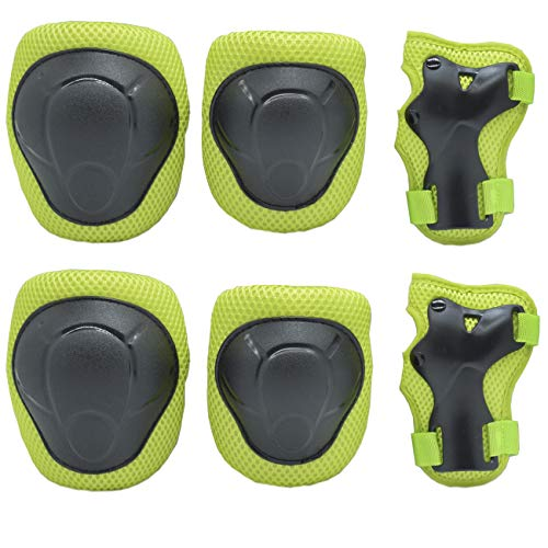 GOBEST Kids Protective Gear Set, Child Knee Pads Elbow Pads with Wrist Guards 3 in 1 for Boys and Girls Cycling Inline Roller Skating Biking Pack of 6 (Upgraded Vistion 3.0) (Green/Black)