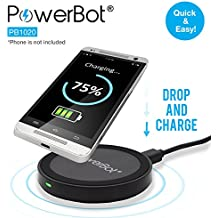 Wireless Charger, Qi Compliant Fast Charging Pad (For Compatible Phones Only), PowerBot PB1020 Smart Inductive Charge Station for Qi Standard Enabled Smartphones, 2.1A AC USB Power Source Recommended