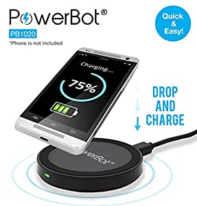PowerBot PB1020 Qi Enabled Wireless Charger with Micro USB Cable for Smartphones & Tablets - Black