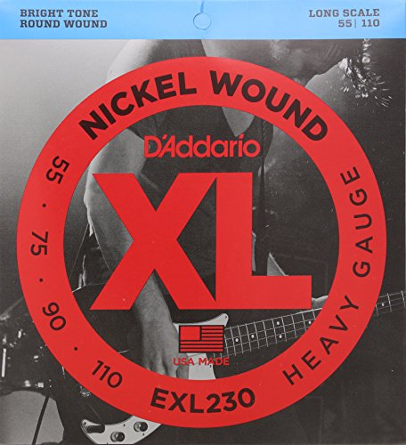 D'Addario EXL230 Nickel Wound Bass Guitar Strings, Heavy, 55