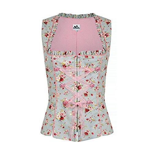 Almbock Trachtenmieder Rosa grau mit Blumen-Muster in Gr. XS S M L XL XXL - hochwertiges Trachten-Mieder in grau-rosa mit Rosen-Blüten