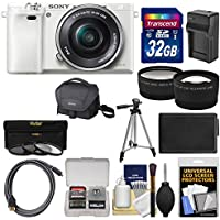 Sony Alpha A6000 Wi-Fi Digital Camera & 16-50mm Lens (White) with 32GB Card + Case + Battery/Charger + Tripod + Tele/Wide Lens Kit Review Review Image