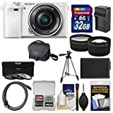 Sony Alpha A6000 Wi-Fi Digital Camera & 16-50mm Lens (White) with 32GB Card + Case + Battery/Charger + Tripod + Tele/Wide Lens Kit Review