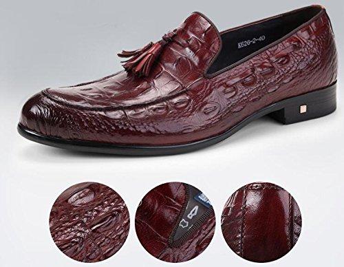 Happyshop(TM) British Style Mens CROCO Leather Tassel Oxfords Derbies Slip-on Dress Shoes Wine Red vwBhx5s