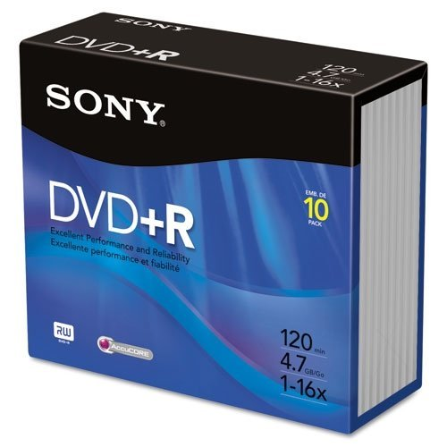 100 PCS (10 PACKS) SONY DVD+R MEDIA 120 MIN 4.7GB 16X (CD CASE INCLUDED) -10DPR47R4 by Sony