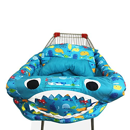 PER 3in1 Shark Shopping Cart Cover/High Chair Cover/Play Mat Protective Cushion Full Safety Harness Universal Fit Foldable For Baby by Per