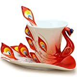 DUSIEC Collectable Fine Arts China Porcelain Tea Cup and Saucer Coffee Cup Peacock Theme Romantic Creative Present (Red)