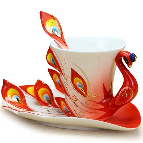 DUSIEC Collectable Fine Arts China Porcelain Tea Cup and Saucer Coffee Cup Peacock Theme Romantic Creative Present ()
