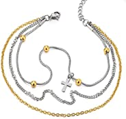 Stainless Steel Gold Silver Double Chain Anklet Bracelet with Beads and Dangling Charms of Cross(CA)
