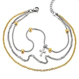 Stainless Steel Gold Silver Double Chain Anklet Bracelet with Beads and Dangling Charms of Cross