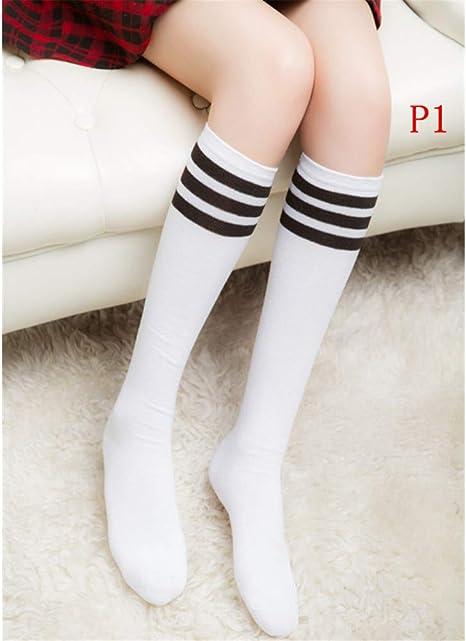 HUNMHA Medias Calcetines de algodón a Rayas hasta la Rodilla 3 para Mujer Calcetines de fútbol sólido para Mujer: Amazon.es: Deportes y aire libre