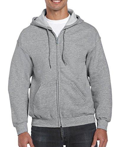 Grey Hooded Full Zip Sweatshirt - Gildan Men's Full Zip Hooded Sweatshirt, Sport Grey, 3X-Large