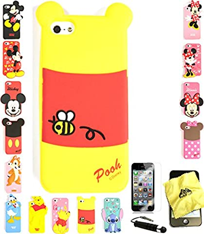 Bukit Cell ® 3D Cartoon Case Bundle - 4 items: POOH TAIL Cute Silicone Case for iPhone SE 5S 5 5G + BUKIT CELL Trademark Cloth + Screen Protector + METALLIC Stylus Touch (Disney Iphone 5s Silicone Case)