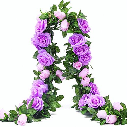 PARTY JOY 6.5Ft Artificial Rose Vine Silk Flower Garland Hanging Baskets Plants Home Outdoor Wedding Arch Garden Wall Decor,2PCS (Purple)