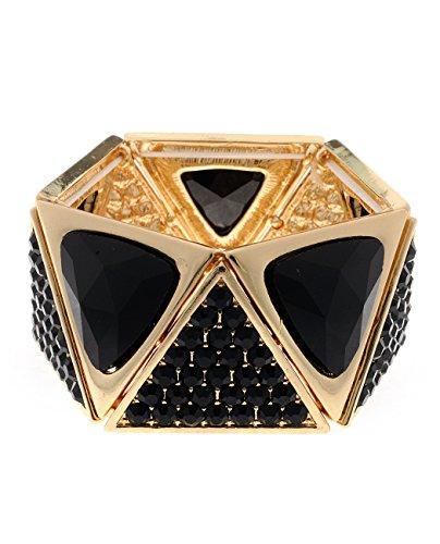 Women's Triangle Geometric Pentagon Evening Stretch Bracelet, Black Stone, - Pentagon Geometric