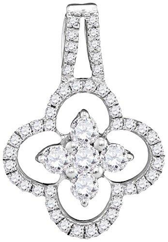 10K White Gold Diamond Clover Necklace Pendant 1/2 Ctw.