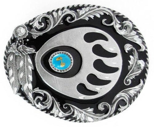 Siskiyou Belt Buckle (Pewter Belt Buckle - Grizzly Claw with Stone (Diamond Cut))