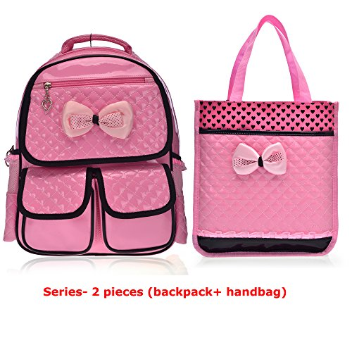 [Mlife Children School Backpack Bags for Primary Girls Students Patent Leather Bow Bag (Pink backpack+ handbag)] (Patent Leather Backpack)