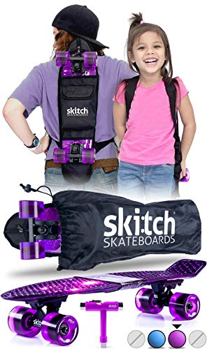 Skitch Complete Skateboards Gift Set for Beginners Girls and Boys of All Ages with 22 Inch Mini Cruiser Board + Skateboard Backpack + Skate Tool + Tote Bag (Purple Galaxy)