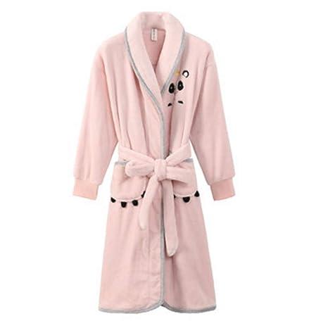 Albornoz Nan Liang Rosa otoño e Invierno Bata de baño 100% algodón camisón Mujer Engrosamiento